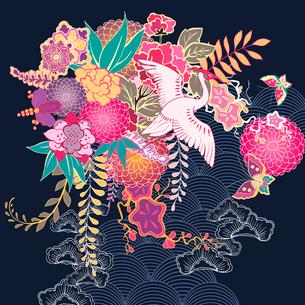 Japan style decorative kimono floral motif vector illustrationのイラスト素材 [FYI03090765]