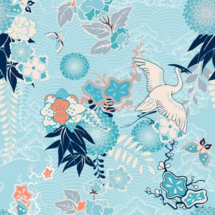 Kimono background with crane and flowers vector illustrationのイラスト素材 [FYI03090766]