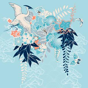 Japanese kimono motif with crane and flowers vector illustrationのイラスト素材 [FYI03090767]