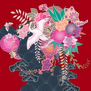 Oriental vintage kimono floral motif vector illustrationのイラスト素材 [FYI03090769]