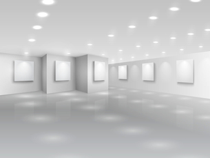Realistic gallery hall with blank white canvases vector illustrationのイラスト素材 [FYI03090772]