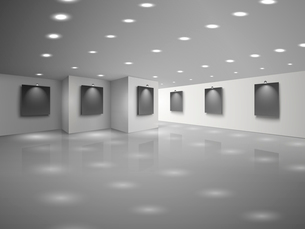 Empty white hall interior with blank black canvases vector illustrationのイラスト素材 [FYI03090773]