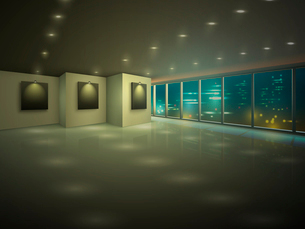 Empty illuminated apartment hall with city view at night vector illustrationのイラスト素材 [FYI03090775]