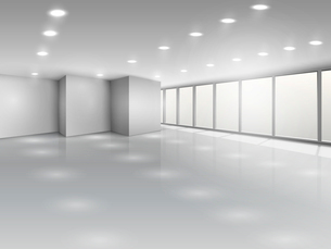 Light conference room or office open space interior with windows vector illustrationのイラスト素材 [FYI03090781]