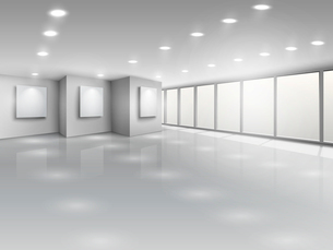 Empty gallery interior with light windows vector illustrationのイラスト素材 [FYI03090783]