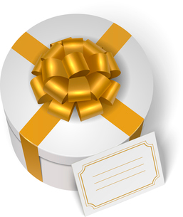 Wedding present box with yellow ribbon, bow and blank greeting card isolated vector illustrationのイラスト素材 [FYI03090786]
