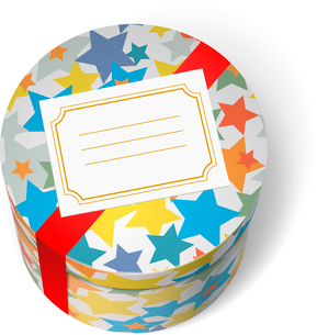 Party present box with stars red ribbon and welcome blank card isolated vector illustrationのイラスト素材 [FYI03090789]