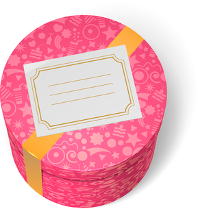 Pink decorated birthday gifts box with yellow ribbon and blank greeting label isolated vector illustのイラスト素材 [FYI03090791]