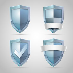 Set of shield icons for security protection or safety concept isolated vector illustrationのイラスト素材 [FYI03090796]