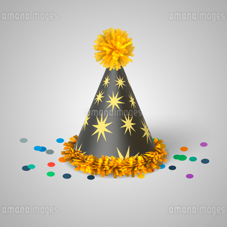 Grey party hat with yellow stars isolated vector illustrationのイラスト素材 [FYI03090798]