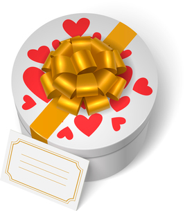 Valentines present box with red hearts, yellow ribbon with bow and blank love message card vector ilのイラスト素材 [FYI03090801]