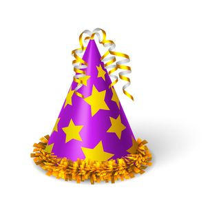 Birthday violet hat with yellow stars isolated vector illustrationのイラスト素材 [FYI03090810]