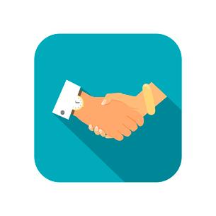 Business person handshake flat icon vector illustrationのイラスト素材 [FYI03090814]