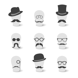 Collection of vintage mustaches hats and glasses on hat-blocks icons isolated vector illustrationのイラスト素材 [FYI03090816]
