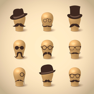 Set of retro mustaches hats and glasses on hat-blocks icons isolated vector illustrationのイラスト素材 [FYI03090818]