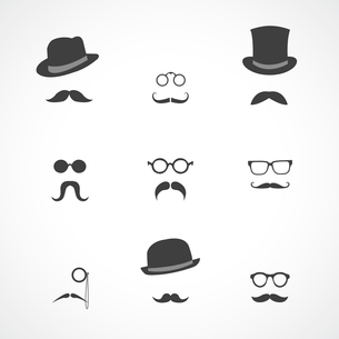 Interface elements collection in retro style mustaches hats and glasses icons isolated vector illustのイラスト素材 [FYI03090819]