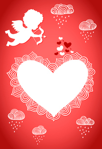Cupid with heart and arrow valentine poster or postcard vector illustrationのイラスト素材 [FYI03090832]