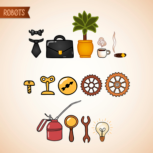 Steampunk technology icons set of bolt nut gear cog and wrench vector illustrationのイラスト素材 [FYI03090833]