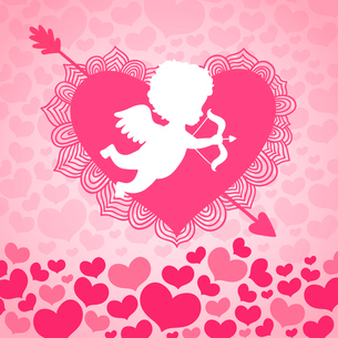 Valentines day angel of love with heart and arrow card or invitation vector illustrationのイラスト素材 [FYI03090837]