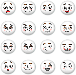 Smiley faces icons set of sadness winking and confusion isolated vector illustrationのイラスト素材 [FYI03090840]
