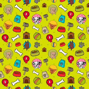 Seamless dogs pattern with bones food and puppies vector illustrationのイラスト素材 [FYI03090842]