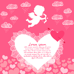 Valentines day angel with bow flyer or print vector illustrationのイラスト素材 [FYI03090843]