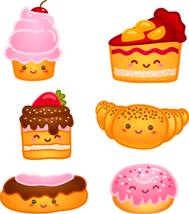 Collection of sweet pastries croissant cake and pie isolated vector illustrationのイラスト素材 [FYI03090844]