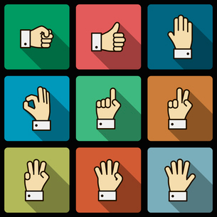 Hand gestures UI design elements, squared with long shadows isolated vector illustrationのイラスト素材 [FYI03090845]
