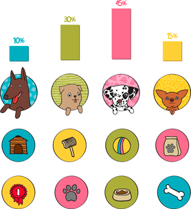 Dogs infographics elements of pets booth food and bone isolated vector illustrationのイラスト素材 [FYI03090846]