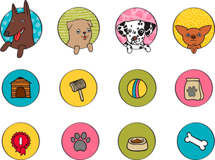 Dogs icons set of pets booth food and bone isolated vector illustrationのイラスト素材 [FYI03090847]