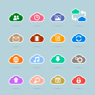 Set of cloud technology icons, contrast color design isolated vector illustrationのイラスト素材 [FYI03090848]