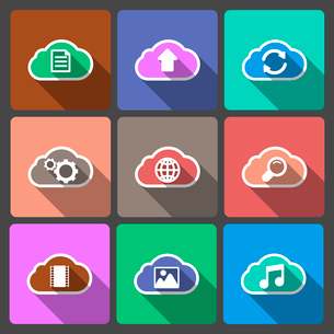 Cloud UI layout icons, squared with long shadows vector illustrationのイラスト素材 [FYI03090851]