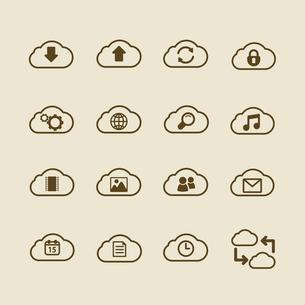 Generic cloud computing iconset, contour flat isolated vector illustrationのイラスト素材 [FYI03090853]