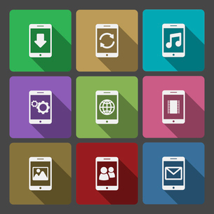 Mobile devices UI design set, squared with long shadows isolated vector illustrationのイラスト素材 [FYI03090855]