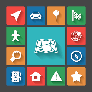 Navigation icons set, squared with long shadows isolated vector illustrationのイラスト素材 [FYI03090857]
