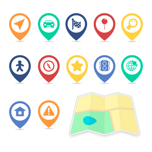 Location UI design elements, contrast color isolated vector illustrationのイラスト素材 [FYI03090862]
