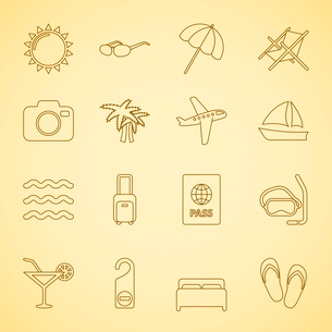 Generic travel iconset for vacation and holidays, contour flat isolated vector illustrationのイラスト素材 [FYI03090863]