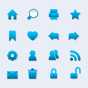 Basic iconset for web design, gradient with shadow isolated vector illustrationのイラスト素材 [FYI03090864]