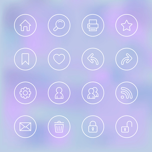 Set of icons for mobile app UI, transparent clear isolated vector illustrationのイラスト素材 [FYI03090867]