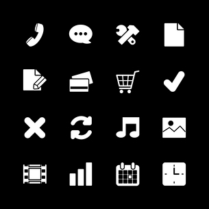 Online shopping icons set, contrast white on black silhouettes isolated vector illustrationのイラスト素材 [FYI03090868]