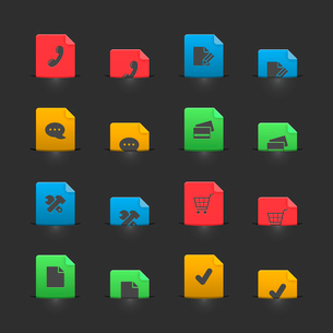 Online shopping iconset on moving stubs, two positions isolated vector illustrationのイラスト素材 [FYI03090875]