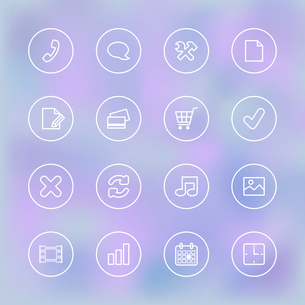 Iconset for mobile shopping app UI, transparent clear isolated vector illustrationのイラスト素材 [FYI03090876]