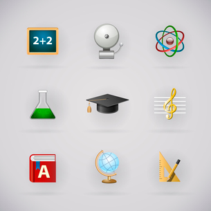 Education pictogram icons set for school application isolated vector illustrationのイラスト素材 [FYI03090878]
