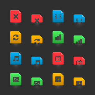 Online media icons set on moving stubs, two positions isolated vector illustrationのイラスト素材 [FYI03090879]