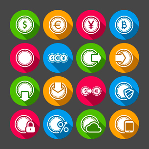Collection of coins for finance or money app with long shadows isolated vector illustrationのイラスト素材 [FYI03090880]