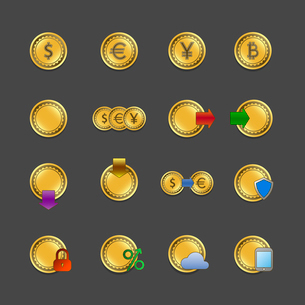 Iconset for electronic payments and money transactions UI design in gold isolated vector illustratioのイラスト素材 [FYI03090884]