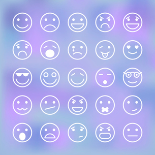 Icons set of smiley faces for mobile application interface isolated vector illustrationのイラスト素材 [FYI03090885]