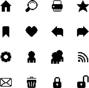 Black pixel icons set for navigation of back forward security preferences isolated vector illustratiのイラスト素材 [FYI03090886]