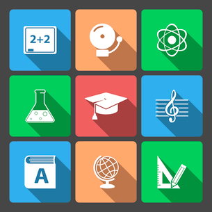 Iconset for educational app for school isolated vector illustrationのイラスト素材 [FYI03090888]