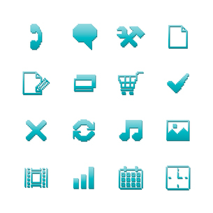 Pixel icons set for navigation of online purchase payment and preferences isolated vector illustratiのイラスト素材 [FYI03090889]